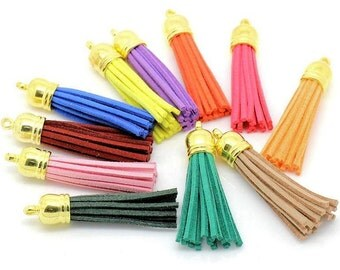6 Tassels Assorted Colors Ideal for Cell Purses and Pendants Longer Length LLGold