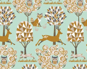 SALE! Deer Fabric Blend Fabrics Josephine Kimberling Natural Wonder Fabric Enchanted Forest in Blue One Yard