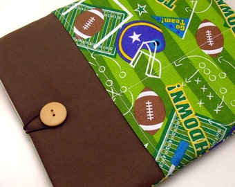 "11"" 13"" Macbook Pro case, Macbook Air cover, Surface RT Pro, Laptop, Custom tablet sleeve with 2 pockets PADDED - Football"