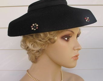 1940s Hat Black Brim