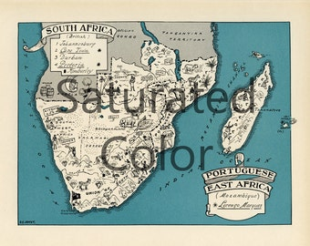 SOUTH AFRICA Map Digital Download vintage picture map - DIY print & frame 8x10 or for Pillows Totes Cards Wedding Paul Spener Johst Durban
