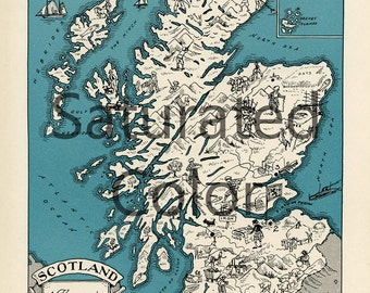 SCOTLAND Map Vintage Digital Download picture map - DIY print & frame 8x10 or for Pillows Totes Cards Wedding Paul Spener Johst Glasgow