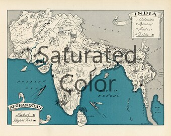 INDIA AFGHANISTAN Map Digital Download vintage picture map DIY print & frame 8x10 or for Pillows Totes Cards Wedding Paul Spener Johst