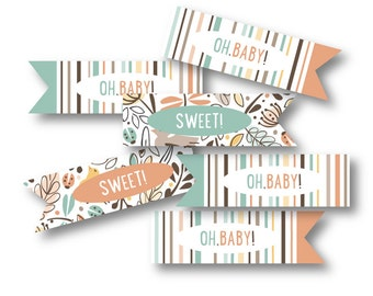 Baby Shower Cupcake Toppers, Flag Picks for Your Woodland Baby Shower // WOODLAND WONDER