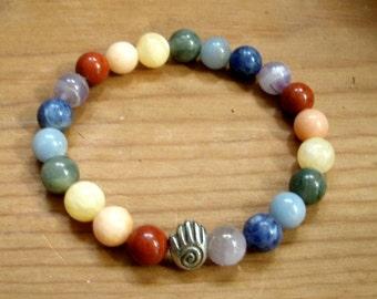 Chakra Bracelet Healing Hand / Chakras Crystals Stones for 7 Chakras / Stretchy / Spiral Hand Bead/ 8mm Stone Beads / Yoga / Reiki