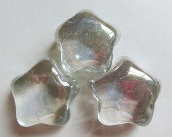100 Iridescent Clear Glass Star Gems, Mosaic, Wedding Table, Planter Fill Lot
