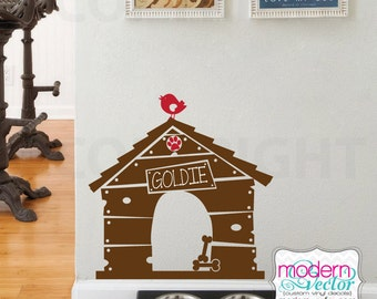 Dog House Personalized Name Vinyl Wall Decal Dog Lover Custom Name with Bird Decor