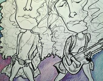 Led Zeppelin Rock Portrait Plant Page Music Art Rock Caricature by Leslie Mehl