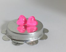 80s Neon Pink Nail Polish Heart Earrings, Bright Round Studs, Jewelry, Fluorescent Earrings. MINI