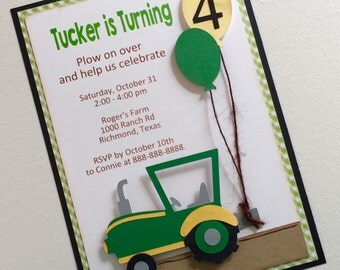 Tractor invitations / green tractor birthday / green and yellow, flat invitation, set of 12