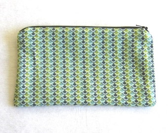 Dragon Scales Fabric Zipper Pouch / Pencil Case / Make Up Bag / Gadget Sack