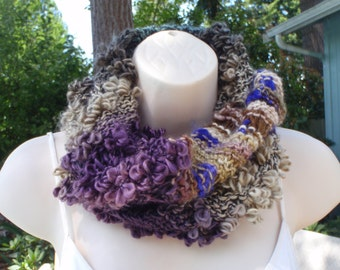 Loop Pop Multi Yarn Cowl Scarf Purple Brown