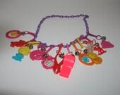 Vintage Plastic Charm Necklace