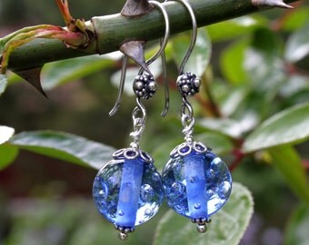 Light Blue Glass & Sterling Silver Earrings,  with Bubbles, Lampworked Jewelry, Blue Glass, Blue Earrings, Handmade in Sweden