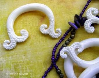 Paradise Double Horn Carved Bone Pendant Bead 50mm