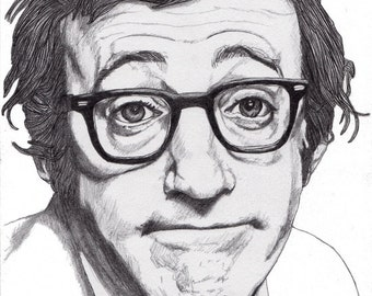 Woody Allen - Drawing, Art, Illustration, Fashion, Portrait, Mix Media Painting by Paul Nelson-Esch Free Worlwide Shipping