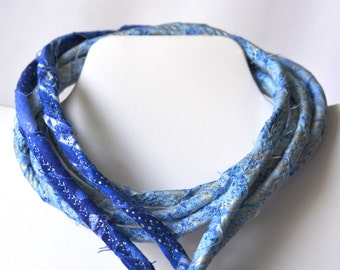 Summer Blue Necklace,  Handmade Fabric Scarf, BL120, Blue and Silver Metallic Statement Necklace, Beautiful Blue Beach Necklace