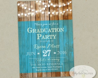Wood & White Lights Graduation Party Invitation | Blue, Bokeh, Graduation or Any Occassion | INSTANT DOWNLOAD | Editable Text PDF
