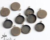 10Pcs 12mm Antique Bronze plated Raw Brass Round Cameo Base Setting Charm / Pendant  (SETHY-199)