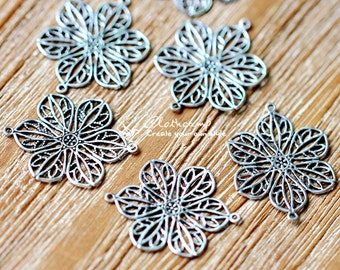 Antiqued Silver  plated RAW brass Filigree  Jewelry Connectors Setting Cab Base Connector Finding  (FILIG-AS-18)
