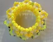 You Are My Sunshine ~ 3D Kandi Cuff Bracelet - happy yellow sunburst with words