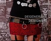 Red Leopard Cheetah PUNK Skirt Animal Print Punk Rock Clothing Rock n Roll Mini Skirt 80s Rocker Glam Rock Hair Metal Street Punk XS - XXL