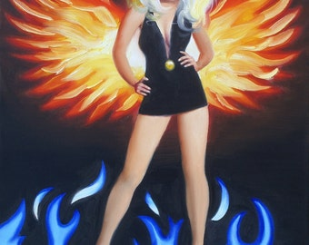 Pinup girl painting by RUSTY RUST fantasy 30x24 oils on canvas / 1531