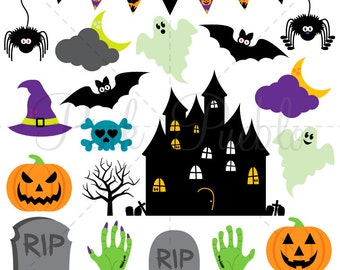 Halloween SVGs, Pumpkin Ghost Bats Haunted House Zombie Cutting Templates - Commercial and Personal Use