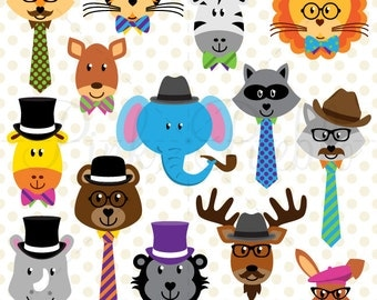 Wise School or Hipster Animals Clipart Clip Art, Jungle Zoo Forest Woodland Animals Clipart Clip Art Vectors - Commercial and Personal Use