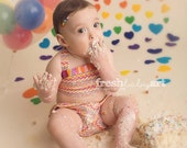 Cake Smash Outfit One Year Old Girl Bikini Cake Smash Set Rainbow Squiggles