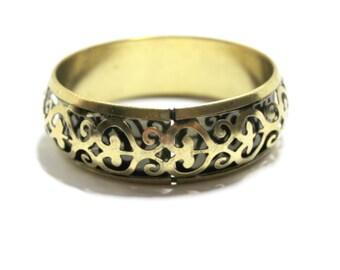 Brass Filigree Bangle- Filigree Bracelet- 1970s Bangle- Boho Jewelry- Hollow Brass Bangle- Bangle Bracelet-  Hippie Bangle- Brass Jewelry