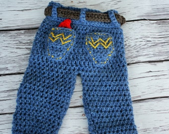 Baby Cowboy Pants - Baby Jeans - Crochet Baby Jeans - Baby Pants - Baby Boy Jeans - Western Wrangler Pants Photo Prop - by JoJo's Bootique