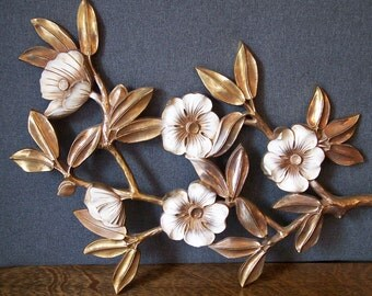 Syroco Gold Dogwood Pair of  Wall Plaques 1962