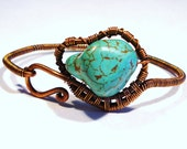 Copper and Magnesite Freeform Wire Wrapped Bracelet, Free US Shipping