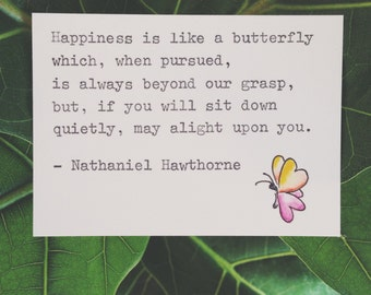 Happiness. Quote by Nathaniel Hawthorne. Typewriter Love, Watercolour art