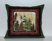 Mountain View Pillows, Rustic Cabin Decor, Forest