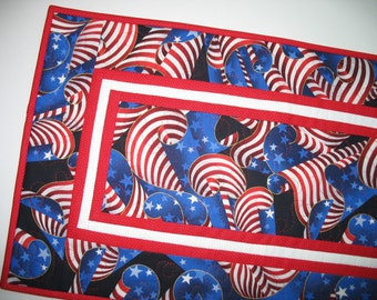 Patriotic Table Runner,  Wall hanging, July 4th, Patriotic Year Round Independence Day Stars and Stripes