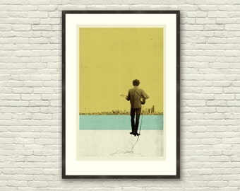 Bob Dylan Inspired 20 x 30 Handprinted Silkscreen Art Print, DYLAN IN SEATTLE, Modern Poster, Vintage Style