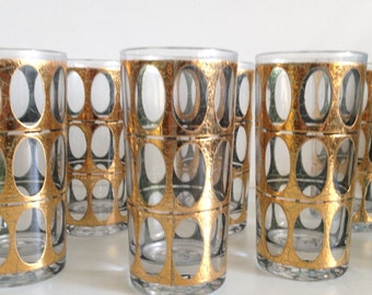 Mid Century Culver PISA Gold & Green Set 7 Tom Collins Highball Barware Glasses