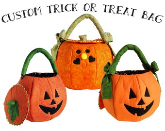 Trick or Treat Bag Quilted Pumpkin Personalized Halloween Bag Large Halloween Treat Bag Custom Fabric Candy Bag