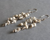 Reserved for Trista ~ White Stone Dangle Earrings, Part of Custom Wedding Set