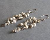 Reserved for Trista ~ White Stone Dangle Earrings, Part of Custom Wedding Set