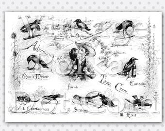 Clip Art Vintage Crow Adventures Collage Graphics Clipart Printable Digital Collage Sheet Instant Download Scrapbooking