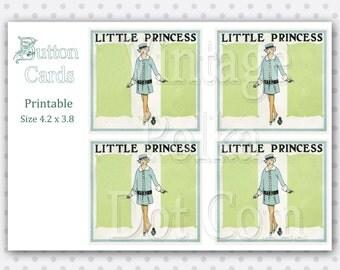 Vintage Button Cards Little Princess Buttons Clip Art Digital Graphics Clipart Printable Collage Sheet 4 Cards Instant Download