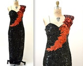 Stunning 80s Vintage Sequin Dress Black and Red Size Large// 80s Black and Red Beaded Pageant Dress Gown Size Large