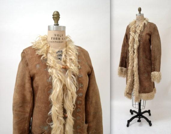 Vintage Embroidered Shearling Afghan Jacket Coat By