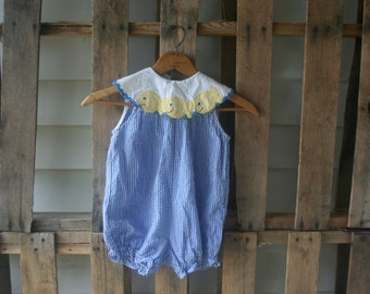 Vintage White & Blue Gingham Romper with Goldfish by Samara Size 24 Months