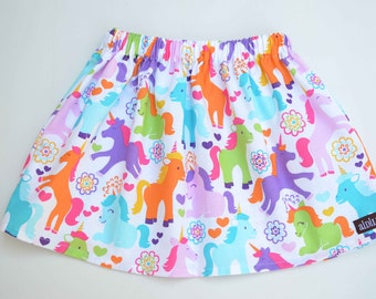 Size 3T Girls Skirt, Rainbow Unicorn Skirt, Ready to Ship, Blue Purple Pink Orange Green, 3rd Birthday Skirt, Spring Summer