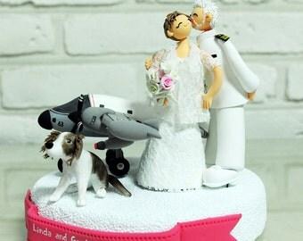 Pilot Navy officer custom wedding cake topper