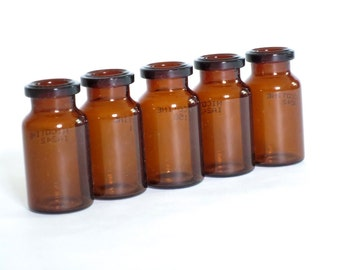 Apothecary small vials bottles Set of 5, Mini Amber Glass Vials, Glass Jar Storage Supply Steampunk, Assemblage Salvage Supplies